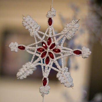 Christmas in July Snowflake Red Crystal Beads Wire Star Cotton Yarn Home Decoration Decor Gift designed by dodofit on Etsy