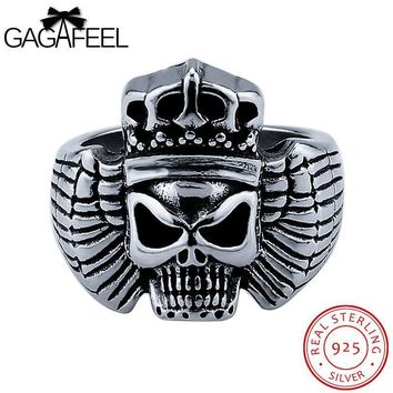 GAGAFEEL Skull Rings Sterling-Silver-Jewelry Punk Men Ring Skeleton Finger Accessories Hiphop For