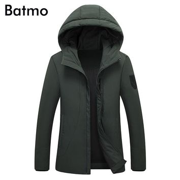 Batmo 2017 new winter keep warm White duck down army green hooded jacket men, winter men's coat M,L,XL,2XL,3XL, 7806