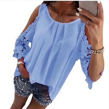 LOSSKY Womens Tops And Blouse Shirt 2018 Summer Top Casual Hollow Out Sleeve Off Shoulder Shirt Ladies Blouse Boho Tunic Tops