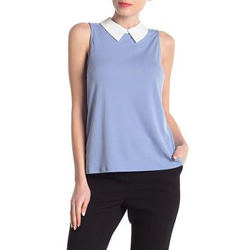 CeCe by Cynthia Women's Steffe Contrast Collar Solid Crepe Top Size M