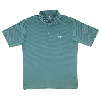 Longshank Striped Performance Polo in Navy & Island Green by Country Club Prep