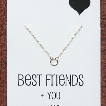 Best Friends Circle of Family and Love Silver Toned Gift Card Necklace