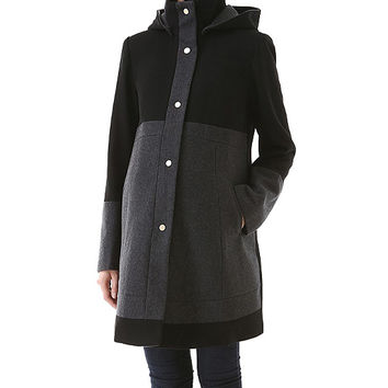 Momo Black Empire-Waist Kenna Wool-Blend Maternity Coat