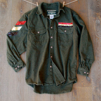 Sequin Flannel Shirt Jacket Sequin Chevron Arm Military Inspired Flannel Women's Grunge Hipster Gift Ideas For Her Teens Sequin Patch Shirt