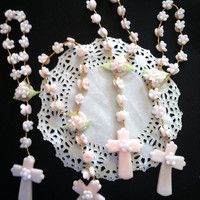 Baptism Favor, Baptism For Girl, Boys Baptism , 36 Mini Rosaries Favors, White Rosary for Cake, Pink Mini  Rosary, Baby Boy or Girl Baptism
