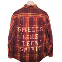 "Plaid Nirvana Shirt in Burgundy Flannel, ""Smells Like Teen Spirit"""