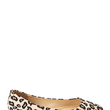 FOREVER 21 Pointed Leopard Print Flats Tan/Black 5.5