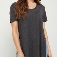 Burgundy High Slit Pocket Tee