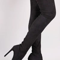 So Me Gigi Stiletto High Heel Pointy Toe Thigh High Stocking Boot Black
