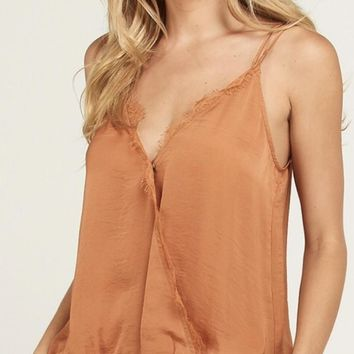 Fold Over Lace Trim Tank