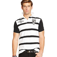 Polo Ralph Lauren Custom-Fit Rugby-Striped Polo Shirt - Oxford White M