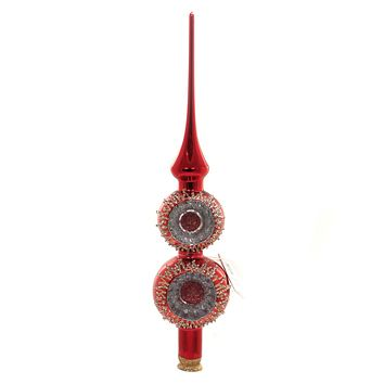 Golden Bell Collection RED FINIAL W/ REFLECTORS Tree Topper Christmas Tt718a