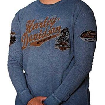 Harley-Davidson Men's High Roller Premium Long Sleeve Shirt, Denim Blue Wash