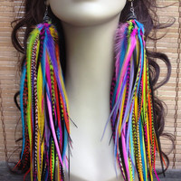 Neon Rainbow Owlita Inspired Feather Earrings Bright Colorful Long Big Full Thick Premium Feather Jewelry 12 inches Sale Ready to Ship