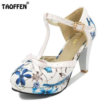 TAOFFEN Size 32-48 Women's Round Toe Square Heel Sandals Ladies heels Women Shoes Sandals Sexy T Strap bow Wedding Party Shoes