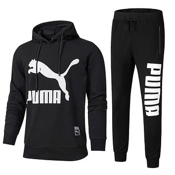 PUMA Trending Men Casual Print Hoodie Top Sweater Pants Sweatpants Set Two-Piece Sportswear Black