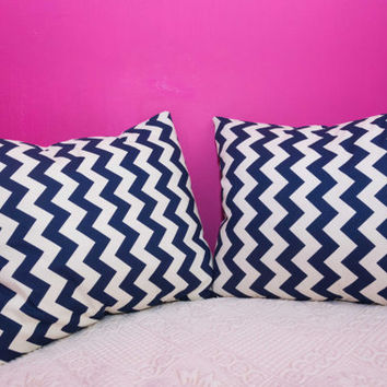 Blue Pillow Chevron.20x20 inch.Decorator Pillow Covers.Printed Fabric Front and Back.Housewares.Home Decor.Cushions.cm
