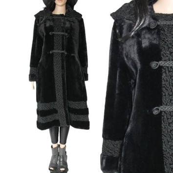 70s Vtg Bohemain Goth Faux Fur Coat Long Thick Black Shiny Toggle Boho Vamp 90s Clothing Winter Outerwear Womens Size Medium Large