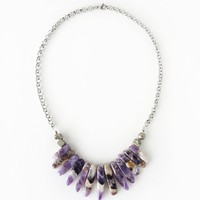 Bold Amethyst Spike Stone Statement Necklace