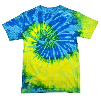 Tie Dye Shirt Multi Color Spiral Blue Yellow Swirl T-Shirt