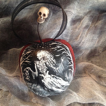 Hand Painted Gothic Ornament for Halloween or a Creepy Christmas