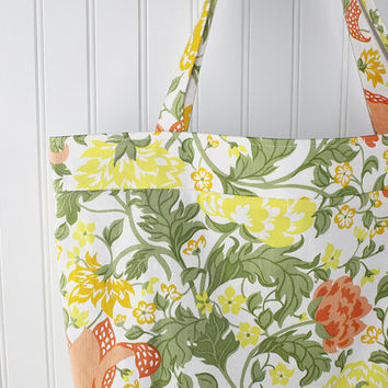 Summer Yellow Floral Print Beach Bag, Large Tote Bag, Farmers Market Bag, Reusable Grocery Bag, MK123