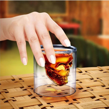 Coffee Drinks On Sale Cute Hot Deal Skull Crystal Strong Character Double-layered Transparent Cup [10250062348]