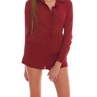 Best Way Shirt Romper - Red