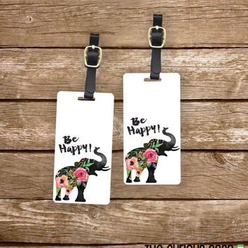 Personalized Luggage Tags Be Happy Floral Shabby Cottage Chic Elephant - Metal Tags with Printed Personalization
