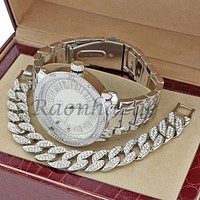 MEN TECHNO PAVE LUXURY 14K WHITE GOLD WATCH CUBAN BRACELET SET FM05S