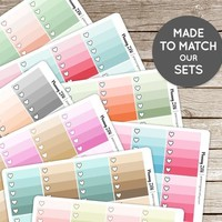 Designer Full Box Checklists Vinyl Planner Stickers for use with EC Vertical Planners