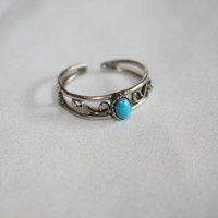 Sterling Turquoise Ring Cocktail  Vintage 1980s  Jewelry Sz Adjustable