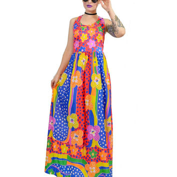 vintage 70s psychedelic maxi dress pop op art paste grunge hippie boho MOD dress flower power cross back KAWAII XS floral novelty print
