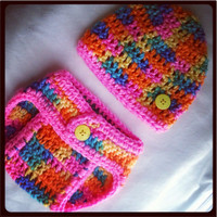 Summer Colors Baby Diaper Cover and Hat Set . Perfect Photo Prop. Ready to ship. Many sizes available