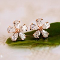 Glittering Flower Full Rhinestone Earrings - LilyFair Jewelry