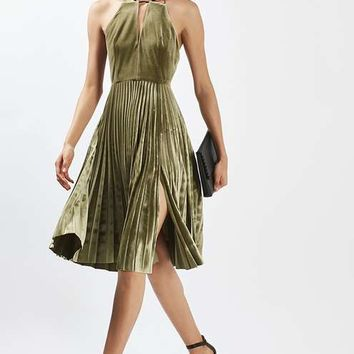 PETITE Velvet Pleated Midi Dress