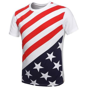 MapleClan Men's American Flag Star & Stripes Short Sleeve T Shirt White - XXXL