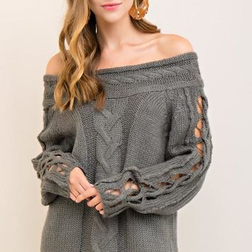 Off The Shoulder Cable Knit Sweater With Cut Out Sleeve