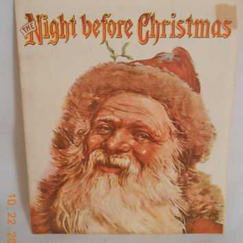 Vintage Christmas Book The Night Before Christmas, Reproduction of early original by Merrimack, Softcover Christmas Book  Children Book
