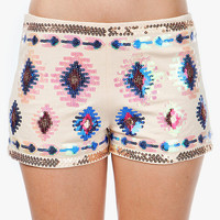 A'GACI AZTEC SEQUIN SHORTS - BOTTOMS