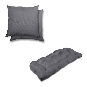 stratford home Indoor/ Outdoor Sunbrella Pillows and Bench Cushion Set (Charcoal)