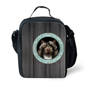 Trendy 3D Animal Cute Children Lunch Box Cat Dog Print Thermal Bag for Food Women's Picnic Insulated Lunch Bags Shoulder Bags