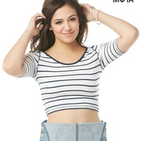 Aeropostale Womens Striped Scoop-Back Crop Top - White,
