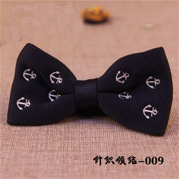 Mantieqingway Anchor Tie Bow Ties Wedding Skinny Gravatas Neckwear Accessories Fashion Casual Knitting Bow Ties for Men Blue Tie