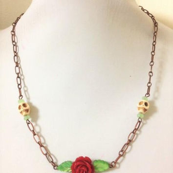 Copper Day of the Dead Red Rose Necklace Sugar Skull Jewelry