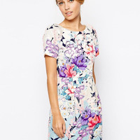 Floral Short Sleeve High Waist Shealth Dress