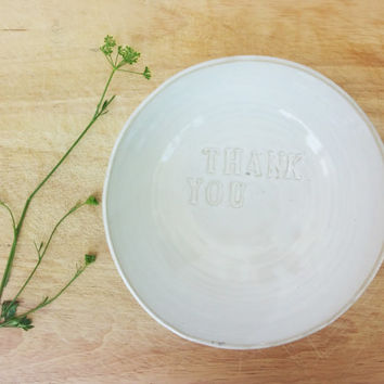 "Large white pottery serving bowl ""thank you"" decoration, Handmade ceramic large bowl"