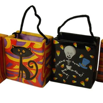 Set of 4 Spooky Skeleton Cat and Frankenstein Ceramic Halloween Candy Bags 4.75""