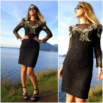Black Beaded Dress By SCALA 80's Silk Party Dress Gold Silver Sequin Dress / MEDIUM Cocktail Dress / Sheer Open Back Long Sleeve Mid Length